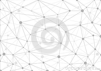 Abstract grey geometric background with chaos of connected lines and dots.