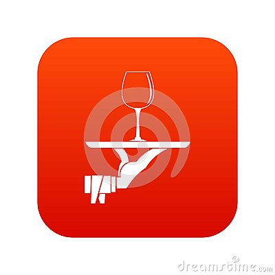 Waiter hand holding tray with wine glass icon digital red