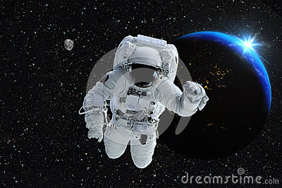 Astronaut spaceman outer space people planet earth moon. Beautif