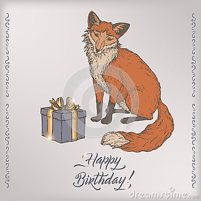 Color romantic vintage birthday card template with calligraphy, fox and gift box sketch.