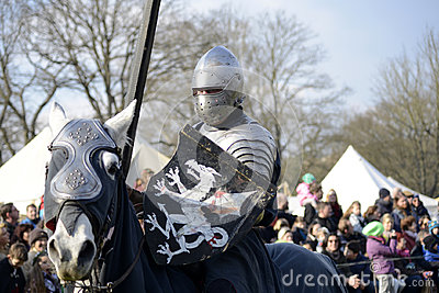 06.04.2015 Lorelay Germany - Medieval Knight games knights fighting tournament riding on horse
