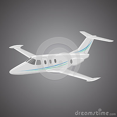 Small private jet vector. Business jet illustration. Luxury twin engine plane