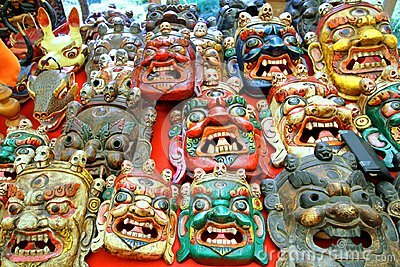 Colorfully painted traditional wood carving mask