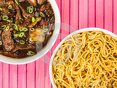 Beef and Black Bean Sauce With Red Peppers And Egg Noodles