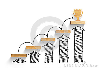 Wooden staircase to reach goal and win trophy with increase graph and arrow
