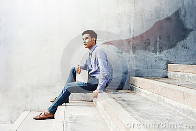Power, Success and Leadership in Business concept, Young man sit