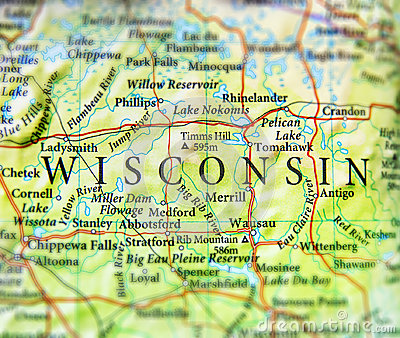 stock image of geographic map of us state wisconsin with important cities