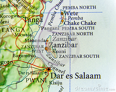 stock image of geographic map of zanzibar with important cities