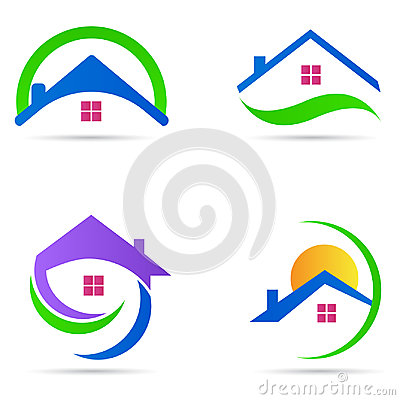 Home house logo real estate construction residential symbol vector icon set
