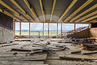 New residential construction home framing. Interior framing of a