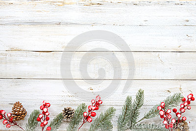Christmas decorating elements and ornament rustic on white wood table with snowflake.