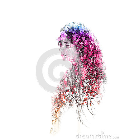 Double exposure of young beautiful girl isolated on white background. Portrait of a woman, mysterious look, sad eyes, creative.