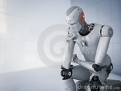 Robot sit down and thinking