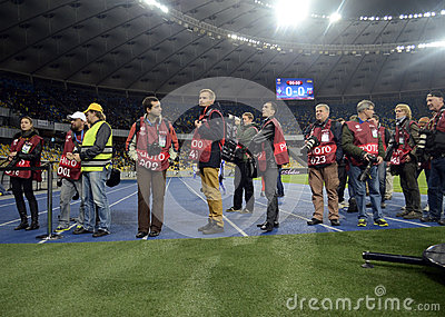 Photojournalists at work during Champions League football game