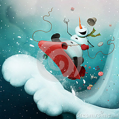 stock image of crazy snowman