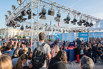 Fans waiting for celebrities on the red carpet at the 43rd Deauville American Film festival