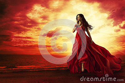 Woman Flying Red Dress, Fashion Model in Evening Gown Levitating