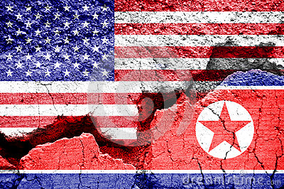 Flag of USA and North Korea on a cracked background. Concept of conflict between two nations, Washington and Pyongyang
