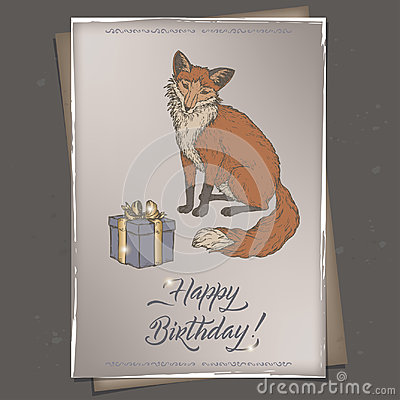 Color A4 format romantic vintage birthday card template with calligraphy, fox and gift box sketch.