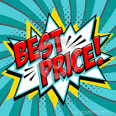 Best price - Comic book style word on a blue green background. Best price comic text speech bubble. Banner in pop art
