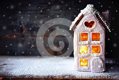 Magical winter christmas picture. Gingerbread house with snow.