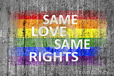 Same Love Same Rights and LGBT flag painted on background texture