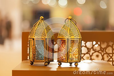 Traditional arabic lanterns lit up in Ramadan