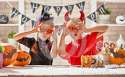 stock image of kids at halloween