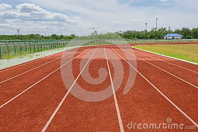 Red Running track with corner of the football field