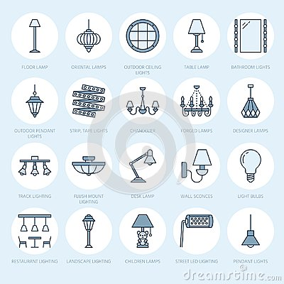 Light fixture, lamps flat line icons. Home and outdoor lighting equipment - chandelier, wall sconce, desk lamp, light