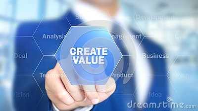 Create Value, Businessman working on holographic interface, Motion Graphics