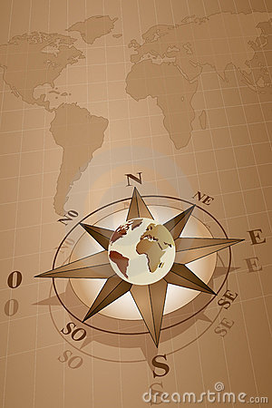 Compass Rose and map world