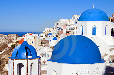 blue dome churches santorini oia
