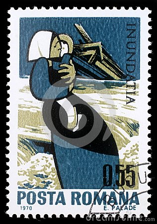 Stamp printed in Romania shows Mother with child and destroyed house, Plight of the Danube flood victims