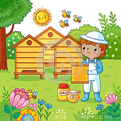 Boy collects honey.