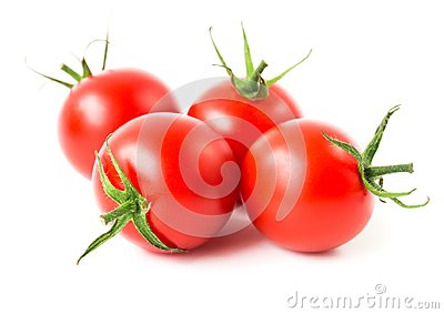 Fresh cherry tomatoes on white background, raw food and vegetabl