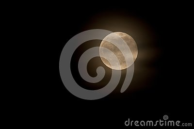 Full Moon with Wispy Clouds in Night Sky Background