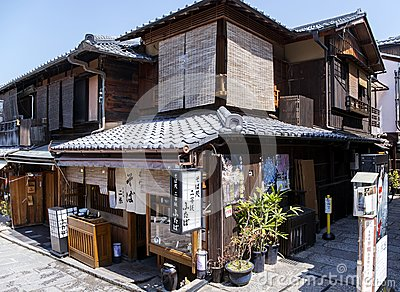 Traditional ancient Japanese wooden house