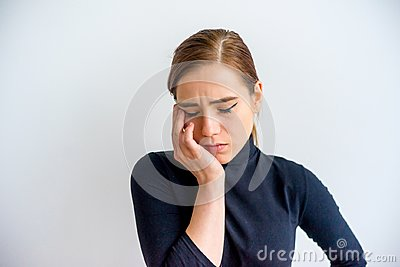 stock image of girl showing emotions