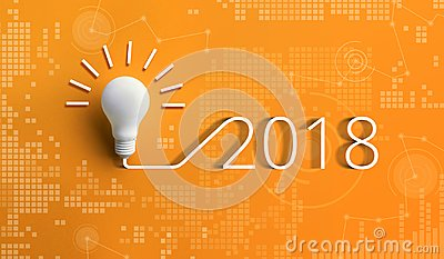 2018 creativity inspiration concepts with lightbulb
