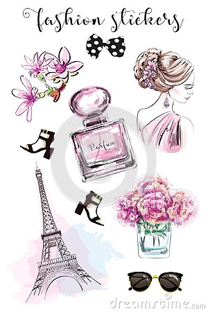 Cute hand drawn set with fashion stickers: beautiful woman, parfume bottle, flowers, shoes, eiffel tower and sunglasses.