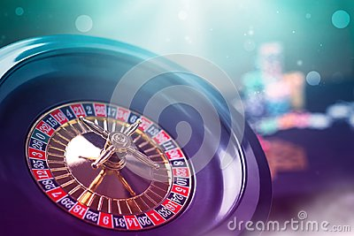 Colorful casino roulette chips of poker.