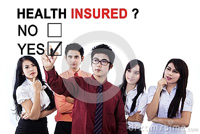 Business team approving health insured