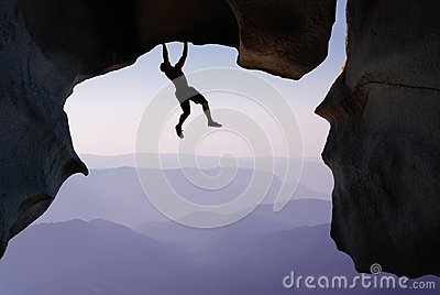 Rock Climber Extreme sports and Mountain climbing concepts