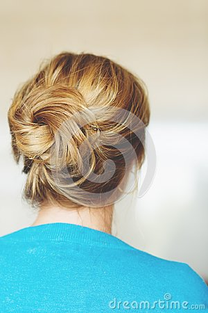 Back view of beautiful hairpiece style