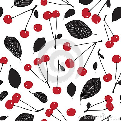 Seamless pattern with cherries and leaves on white background.