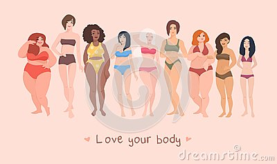 Multiracial women of different height, figure type and size dressed in swimsuits standing in row. Female cartoon