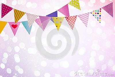 Festive background with colorful flags over abstract lights and glows