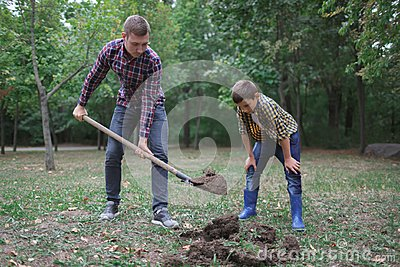 Two brothers a dig earth in a park for planting young tree. Family work, autumn day.