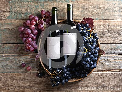 Grapes and red wine.